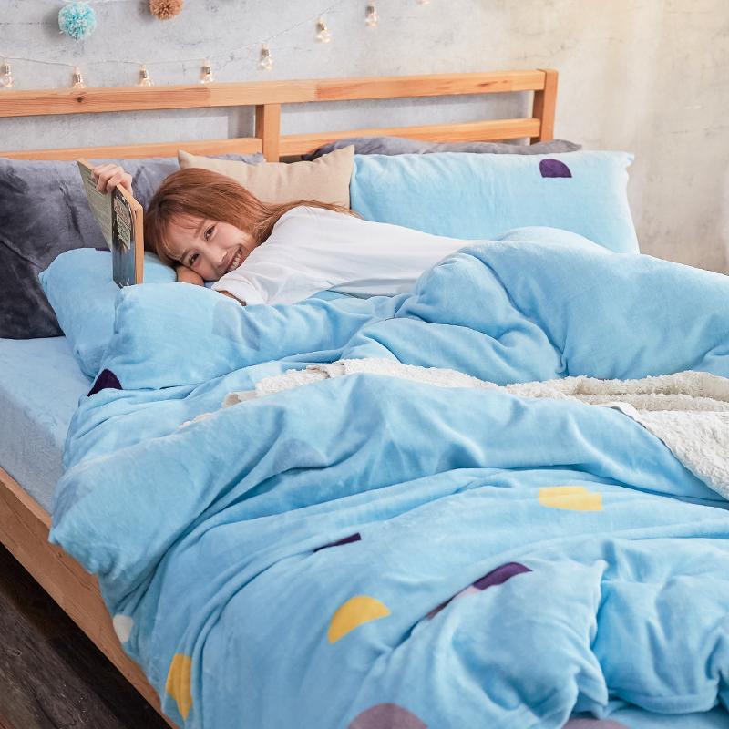 保暖法蘭絨【卡爾點點】雙人加大鋪棉床包被毯組