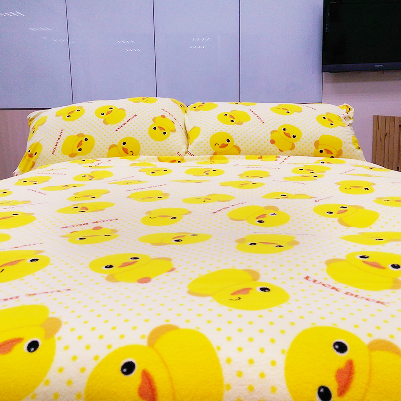 搖粒絨/單人【黃色小鴨】單人床包兩用毯組