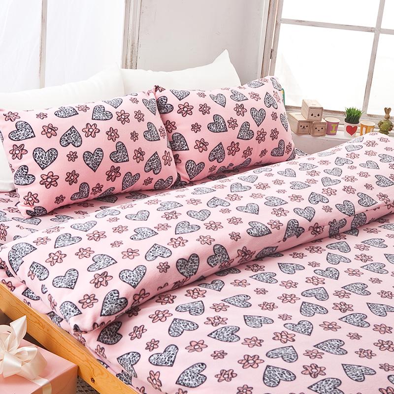 搖粒絨/雙人【花樣甜心】雙人床包兩用毯組