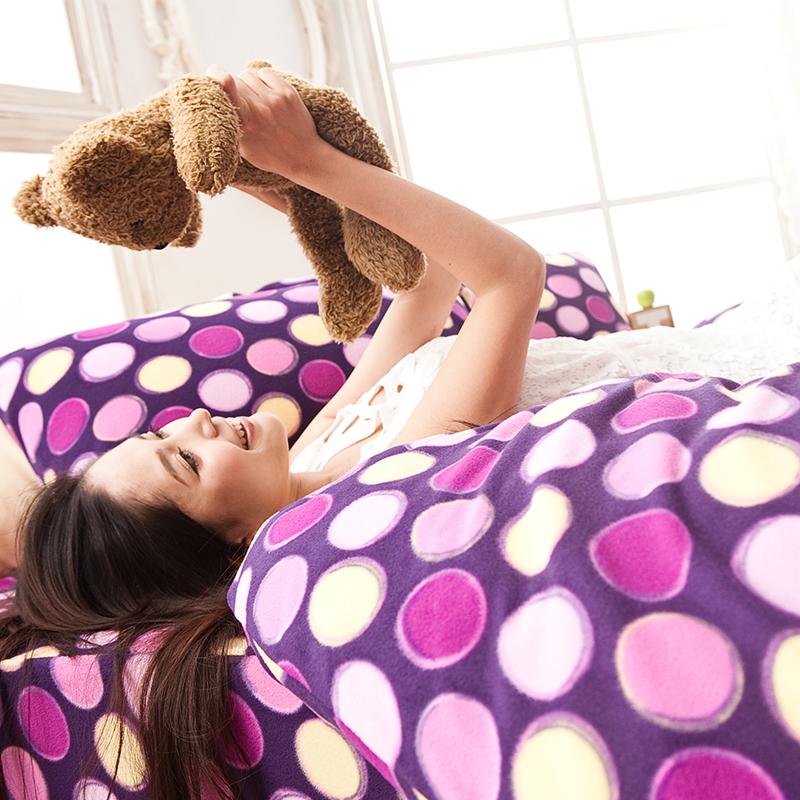 搖粒絨/雙人【神秘普普】雙人床包兩用毯組