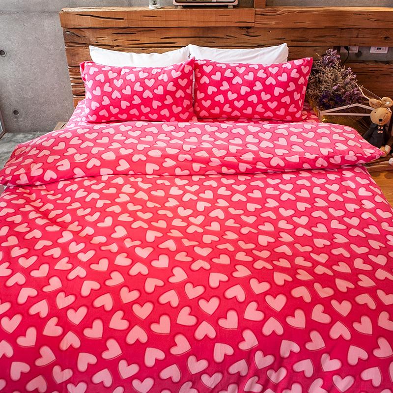 搖粒絨/雙人【糖心女孩】雙人床包兩用毯組