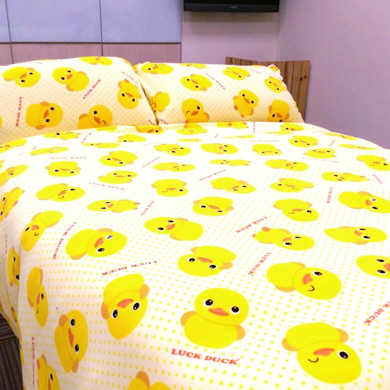 搖粒絨/雙人【黃色小鴨】雙人床包兩用毯組