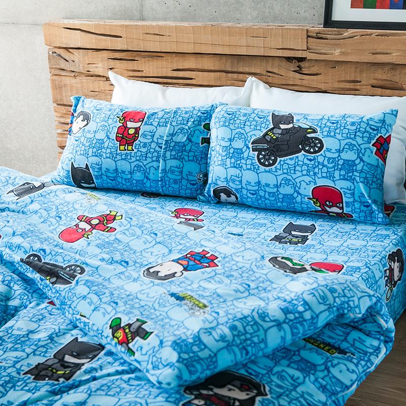 搖粒絨/雙人【正義曙光】雙人床包兩用毯組