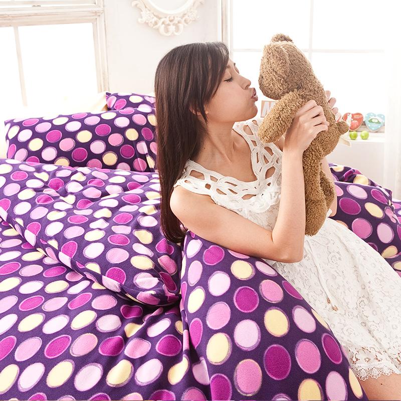 搖粒絨/雙人加大【神秘普普】雙人加大床包兩用毯組