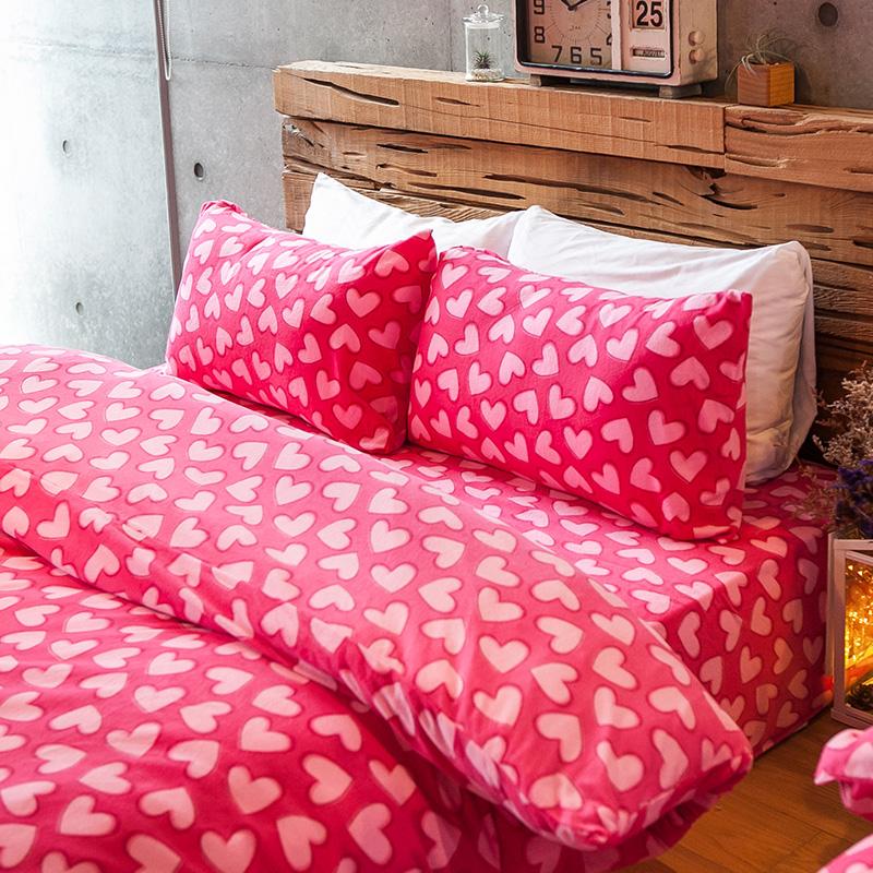 搖粒絨/雙人加大【糖心女孩】雙人加大床包兩用毯組