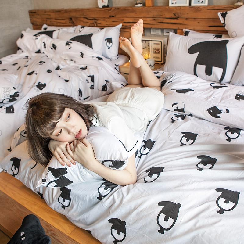 床包兩用被/雙人【經典黑白款-馬來貘的日常】100%精梳棉雙人床包兩用被套組