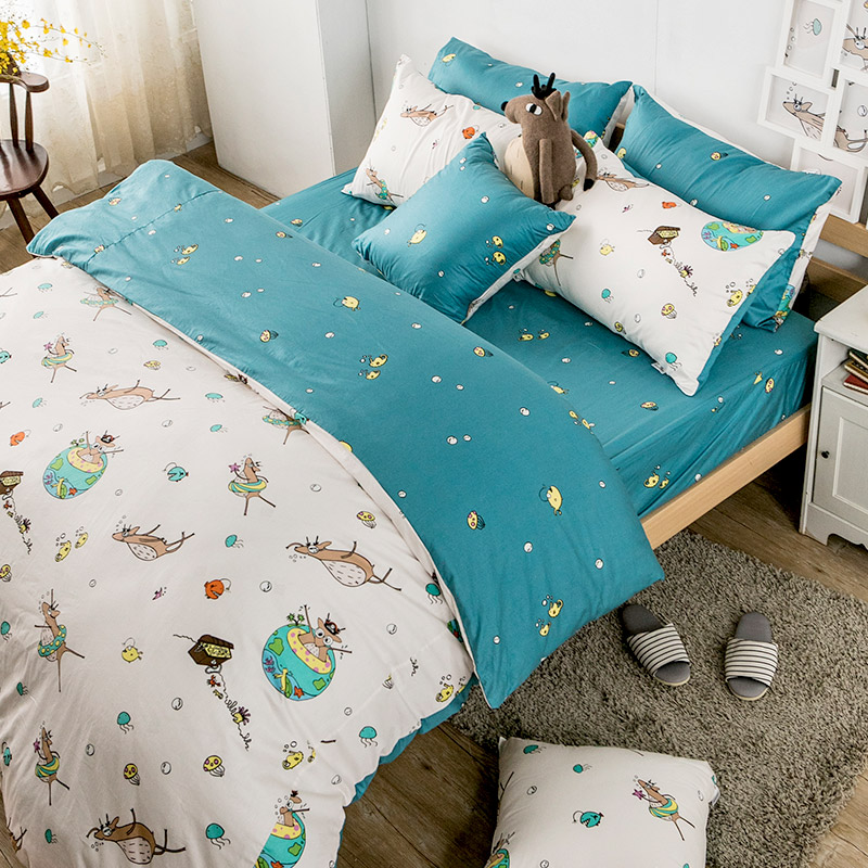 床包兩用被/雙人【迷路的漂流日記】100%精梳棉雙人床包兩用被套組