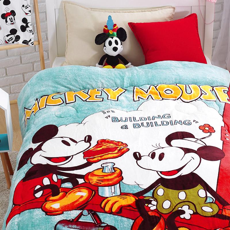法蘭絨大毛毯【迪士尼-工地米奇】雙人大毛毯
