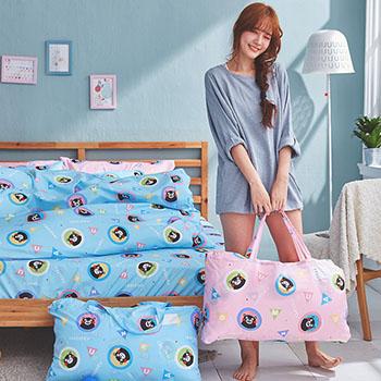 標準睡袋【熊本熊樂園粉】高密度磨毛布標準幼教睡袋