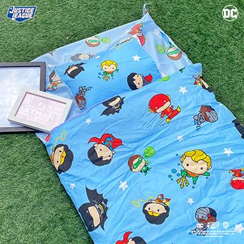 標準睡袋【DC正義聯盟Q版超級英雄藍】高密度磨毛布標準幼教睡袋