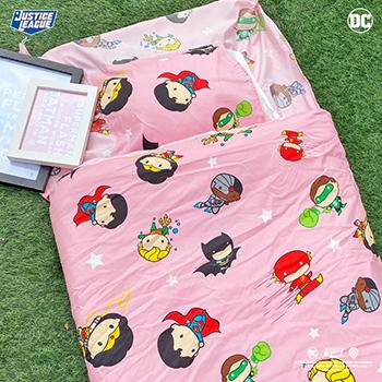 標準睡袋【DC正義聯盟Q版超級英雄粉】高密度磨毛布標準幼教睡袋