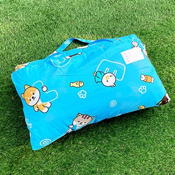 標準睡袋【逗柴貓藍】高密度磨毛布標準幼教睡袋