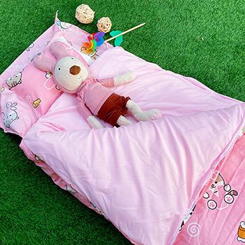 標準睡袋【逗柴貓粉】高密度磨毛布標準幼教睡袋