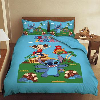 床包/單人【史迪奇歡樂篇】混紡精梳棉單人床包含一件枕套