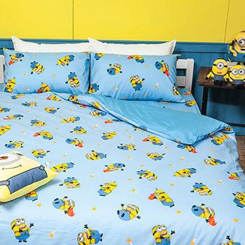 床包/單人【小小兵全速前進】高密度磨毛布單人床包含一件枕套