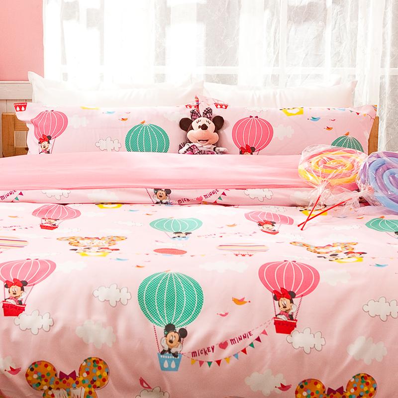 床包 / 單人【米奇熱氣球粉】高密度磨毛布 單人床包含一件枕套<br> <font color=FFFFFF>ABF101</font>