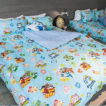 床包/單人【波力救援小英雄藍】高密度磨毛布單人床包含一件枕套