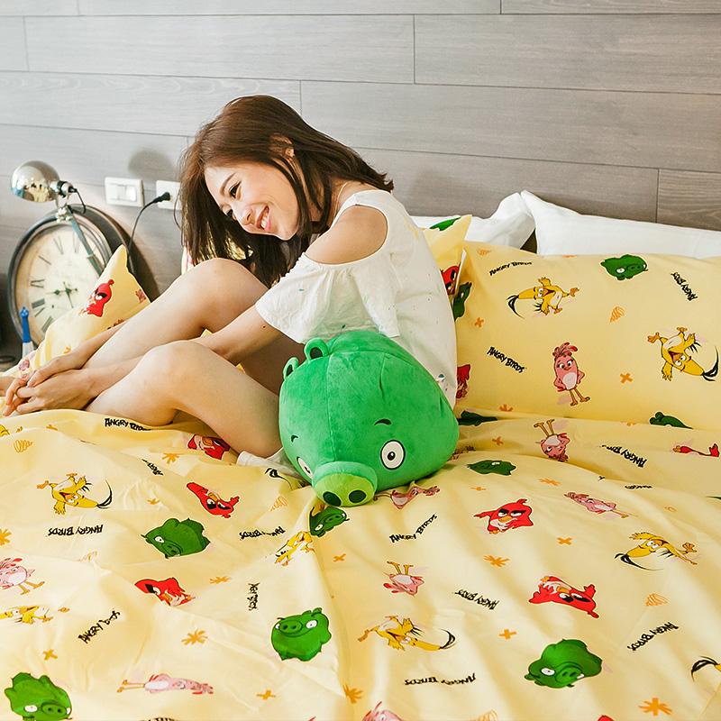 床包/單人【憤怒鳥黃】高密度磨毛布單人床包含一件枕套