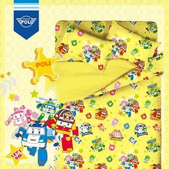 床包/單人【波力救援小英雄黃】高密度磨毛布單人床包含一件枕套