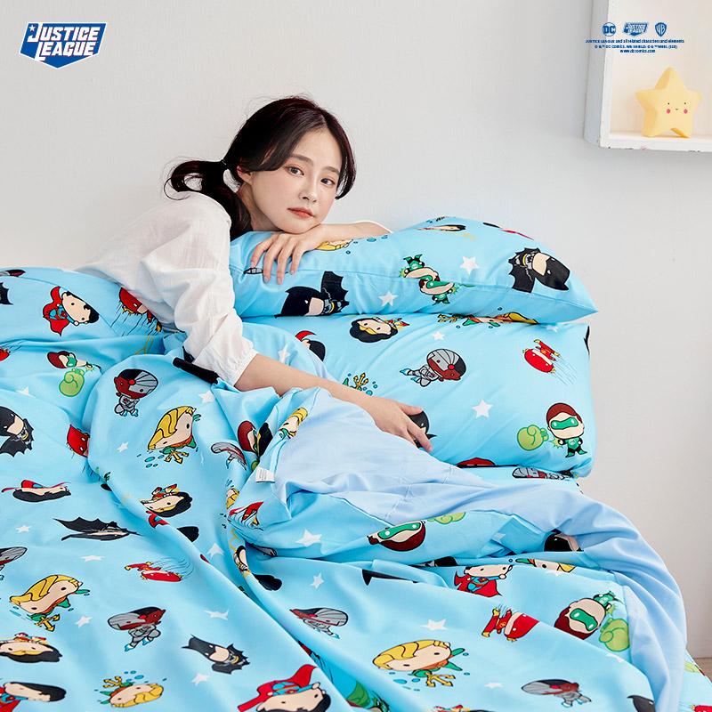 床包/單人【DC正義聯盟Q版超級英雄-藍】單人床包含一件枕套
