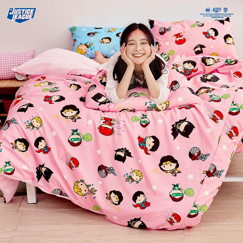 床包/單人【DC正義聯盟Q版超級英雄-粉】單人床包含一件枕套