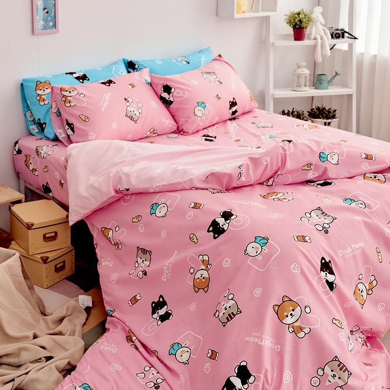 床包/單人【逗柴貓粉】單人床包含一件枕套