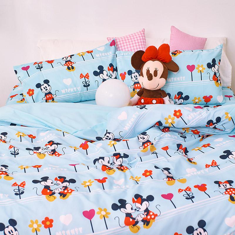 床包/單人【米奇-花園】單人床包含一件枕套