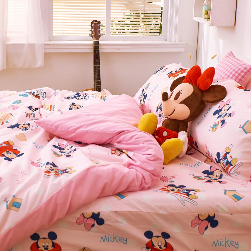 床包/單人【米奇-海灘樂】單人床包含一件枕套