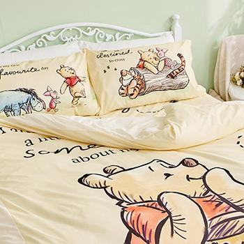 床包/單人【迪士尼維尼小熊-蜂蜜小事(黃色)】單人床包含一件枕套