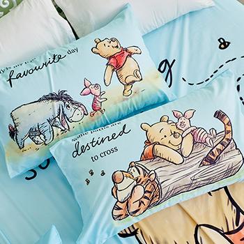 床包/單人【迪士尼維尼小熊-蜂蜜小事(藍色)】單人床包含一件枕套