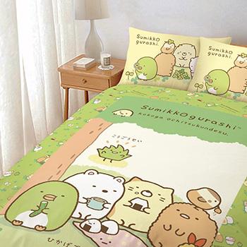 床包/單人【角落小夥伴/角落生物樹下野餐日系列】單人床包含一件枕套