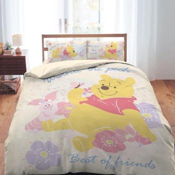 床包/單人【迪士尼-小熊維尼粉紅季黃色】單人床包含一件枕套