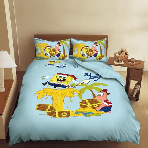 床包/雙人【海綿寶寶寶藏篇】混紡精梳棉雙人床包含兩件枕套