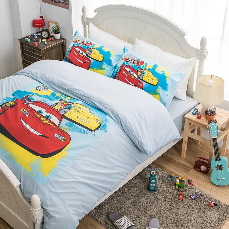 床包/雙人【Cars閃電麥坤旅行篇】混紡精梳棉雙人床包含兩件枕套