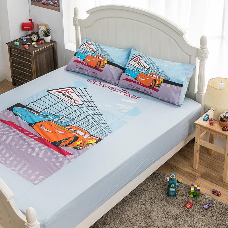 床包/雙人【Cars閃電麥坤賽車篇】混紡精梳棉雙人床包含兩件枕套