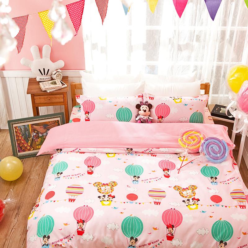 床包 / 雙人【米奇熱氣球粉】高密度磨毛布 雙人床包含兩件枕套<br> <font color=FFFFFF>ABF201</font>