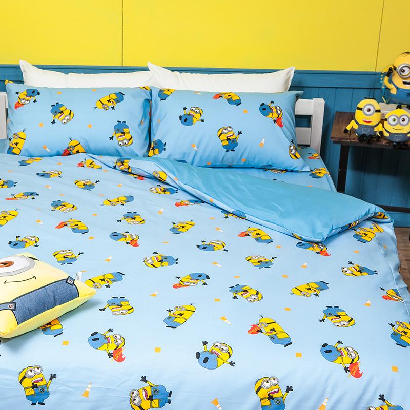 床包/雙人【小小兵全速前進】高密度磨毛布雙人床包含兩件枕套