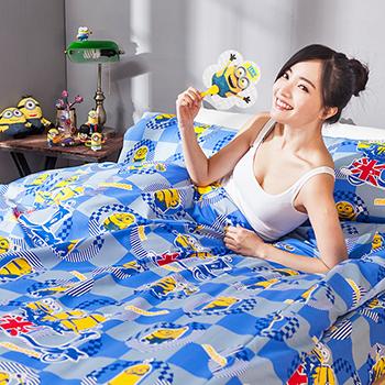 床包/雙人【小小兵壞蛋來了】高密度磨毛布雙人床包含兩件枕套