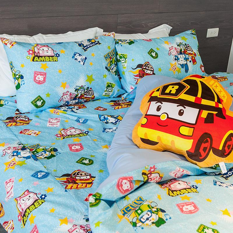 床包/雙人【波力救援小英雄藍】高密度磨毛布雙人床包含兩件枕套