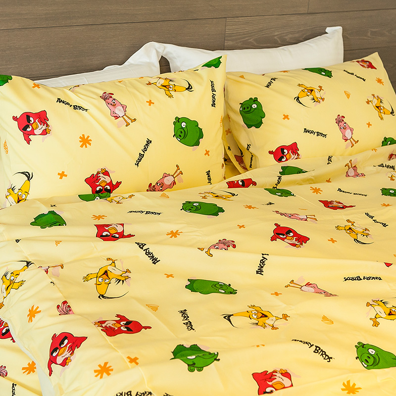 床包/雙人【憤怒鳥黃】高密度磨毛布雙人床包含兩件枕套