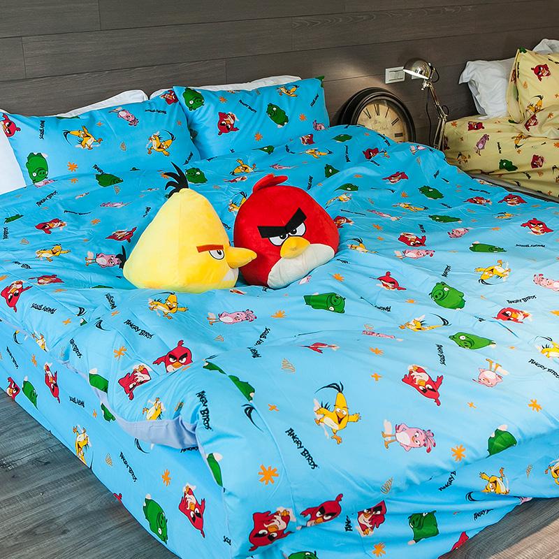 床包/雙人【憤怒鳥藍】高密度磨毛布雙人床包含兩件枕套