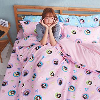 床包/雙人【熊本熊樂園粉】高密度磨毛布雙人床包含兩件枕套