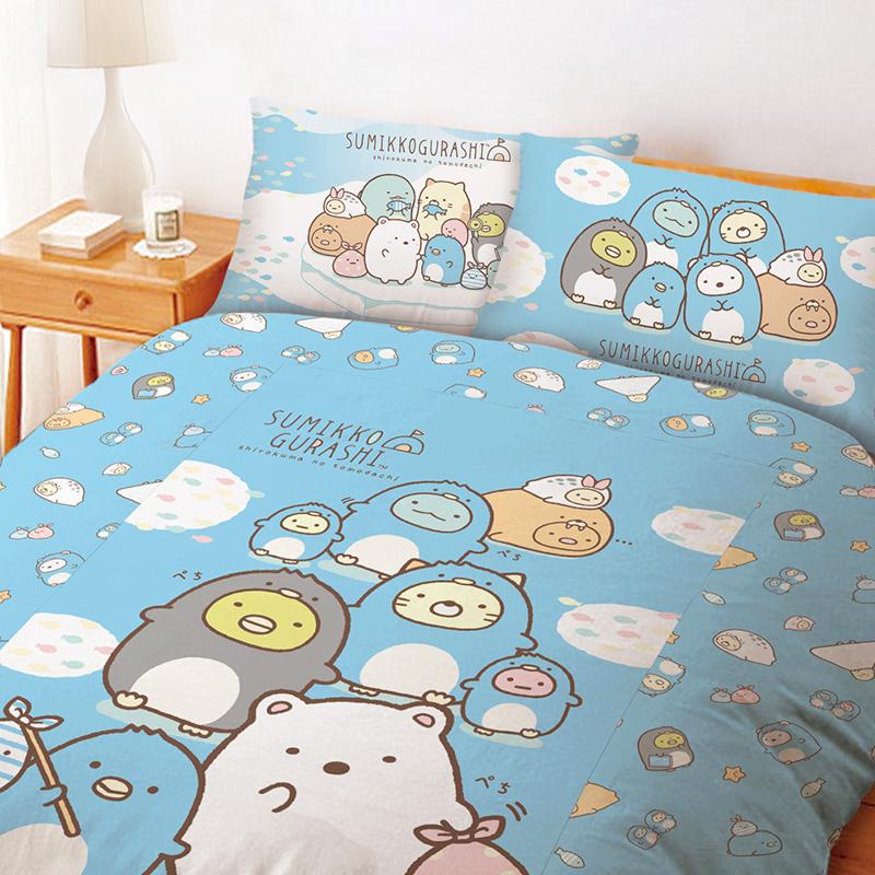 床包/雙人【角落小夥伴冰原歷險】雙人床包含二件枕套