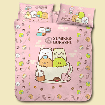 床包/雙人【角落小夥伴/角落生物咖啡杯粉】雙人床包含二件枕套