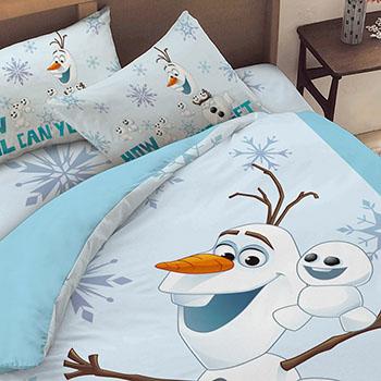 床包/雙人【冰雪奇緣-雪寶與小雪人系列】雙人床包含二件枕套