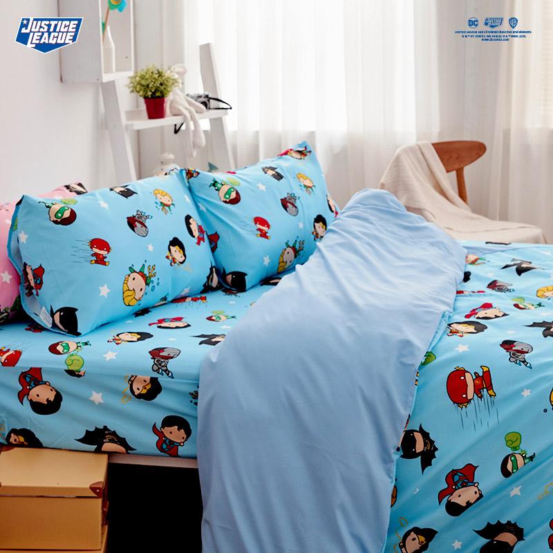 床包/雙人【DC正義聯盟Q版超級英雄-藍】雙人床包含二件枕套