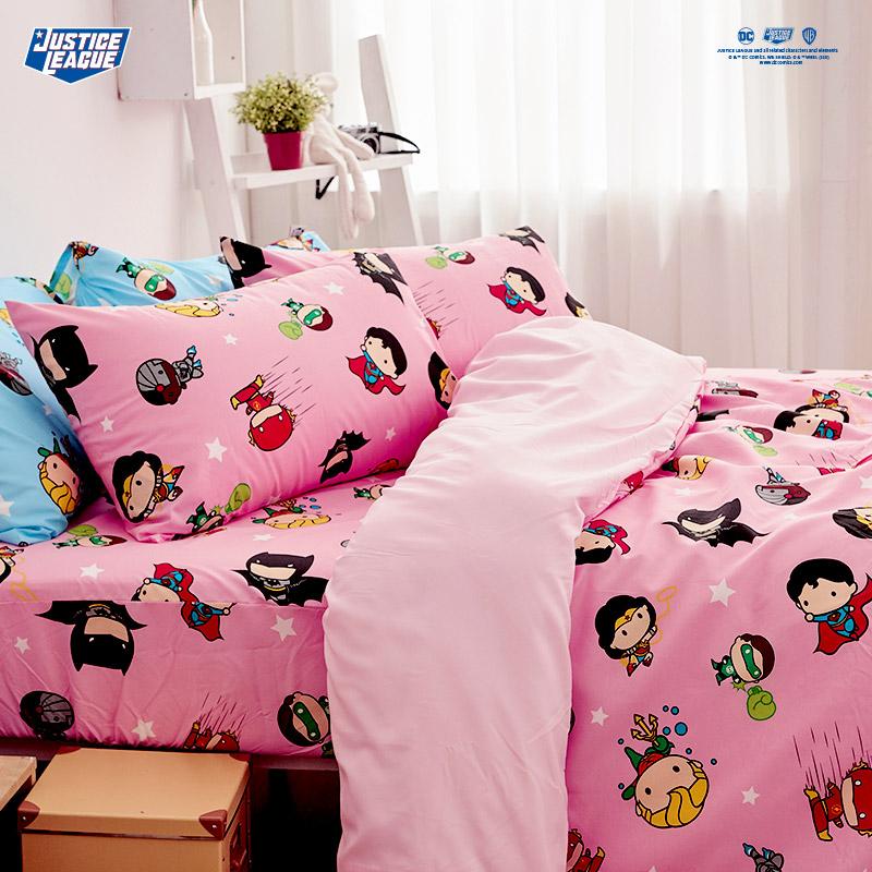 床包/雙人【DC正義聯盟Q版超級英雄-粉】雙人床包含二件枕套