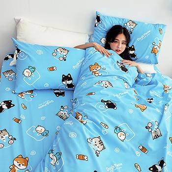 床包/雙人【逗柴貓藍】雙人床包含兩枕套