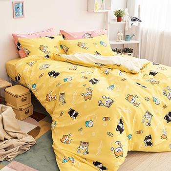 床包/雙人【逗柴貓黃】雙人床包含兩枕套