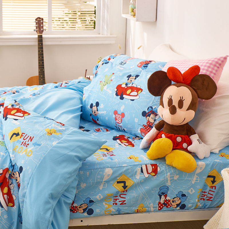 床包/雙人【米奇-公路旅行】雙人床包含二件枕套